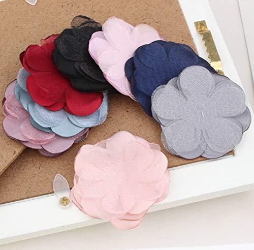 Latest 40Pcs 50Mm Fashion Chiffon Flower Petals Sticker Patch Women Girls Fashoin Jewelry Accessories Girl Hair ()
