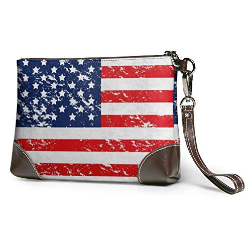 Women's Leather Zipper Wristlet Flag Star Stripe Cellphone Card Wallets Clutch Holder Purse