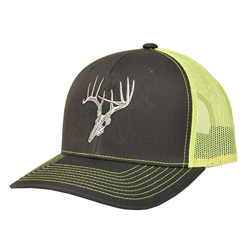 Skullz Outdoors Fierce Headwear 901 Series Deer Logo Charcoal/Neon Green Snapback Hat - HW-SKZ-CNG - Deer Logo Cap