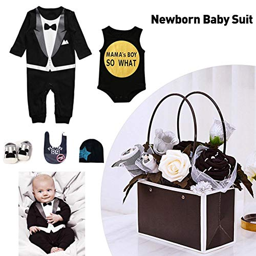 Activane Baby Clothes Gift Set 5PCS Newborn Baby Clothes Bouquet Gift Set Bodysuit2,1hat,1 Saliva Towel, 1 Pair of Socks ()