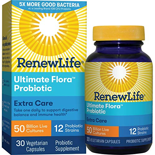 Renew Life Adult Probiotic - Ultimate Flora Probiotic Extra Care, Shelf Stable Probiotic Supplement - 50 billion - 30 Vegetable Capsules (Packaging May Vary)