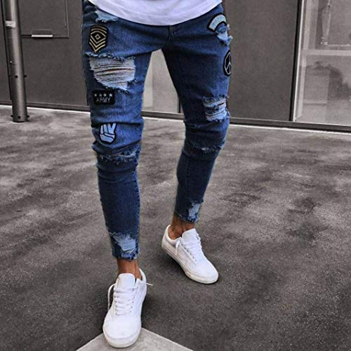 Ricamo Jeans Rip Biker Frayed Moda Pants Dunkelblau Fitness Denim Sottile Skinny Pantaloni Ragazzo Cartoon Sport Distressed Fibbia Uomo Lunghi 6Ew0vw