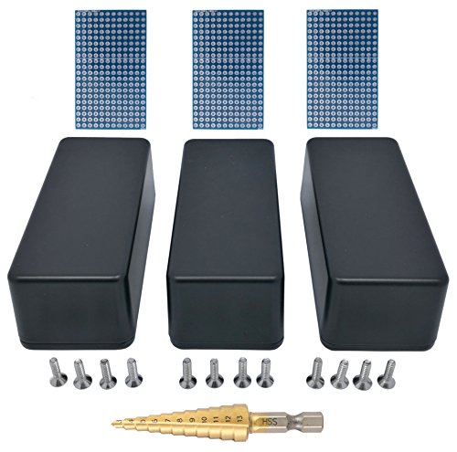 3 pcs 1590A small aluminum enclosure, triple pack for project, mini pedal, box incl. PCB and step drill, black by 3pdt