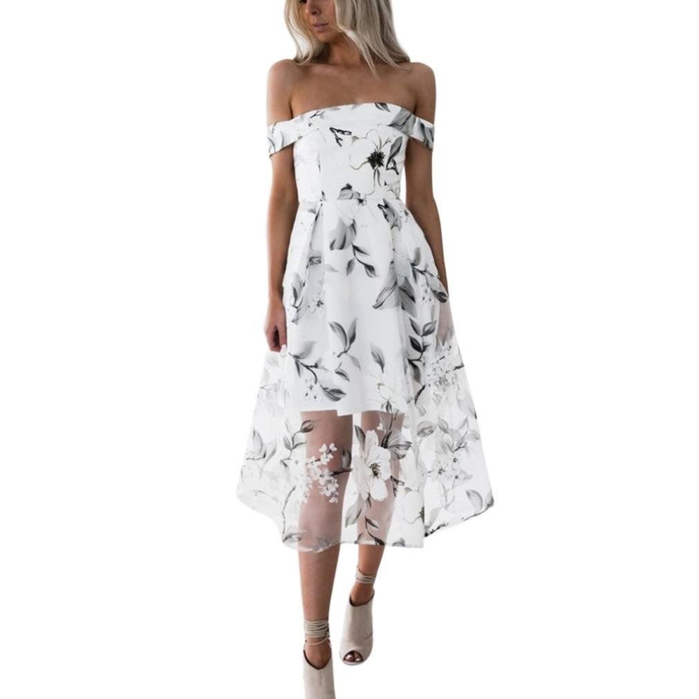 Boomboom Summer Women Teen Girls Off Shoulder Floral Long Maxi Dresses (S, White)
