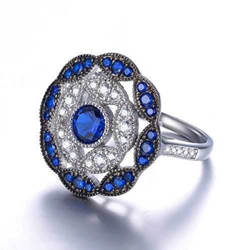 Jrose 925 Sterling Silver Vintage Created Blue Sapphire Cluster Cocktail Ring for Women by jrose (Image #4)