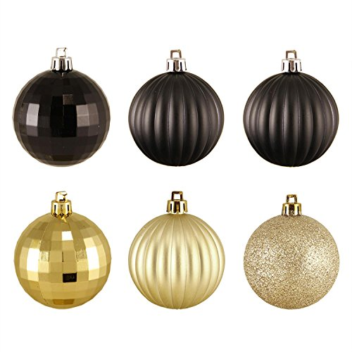 Northlight 100 Count Black and Gold 3-Finish Shatterproof Christmas Ball Ornaments, 2.5