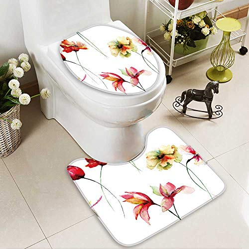 aolankaili 2 Piece Toilet mat Set Seamless Wallpaper with Decorative Wild Flowers,Watercolor Absorbent Cover