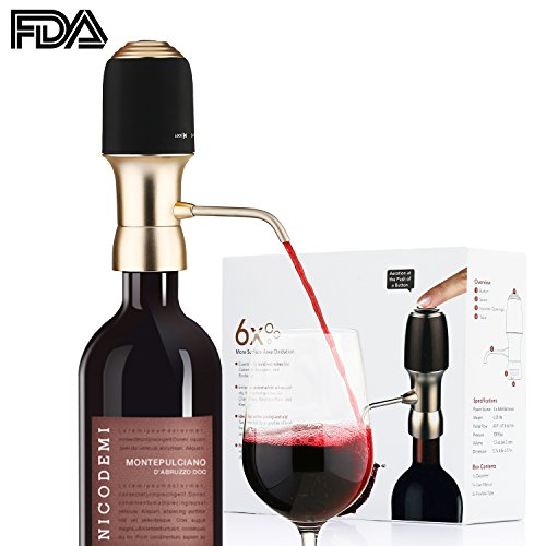 Electric Wine Aerator Pump Decanter Dispenser,Instant Luxury One Touch Boosts The Taste of Red and White Wine, FDA and RoHS Approved,Wine Accessories Aeration,Gift Box (Accessories Wine Box)