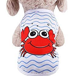 youeneom Dog T-Shirt Apparel Cute Pet Dog Cat Puppy Cute Printed Short Sleeve Shirt Costume Clothes for All Dogs Halloween Christmas (XXL, White)