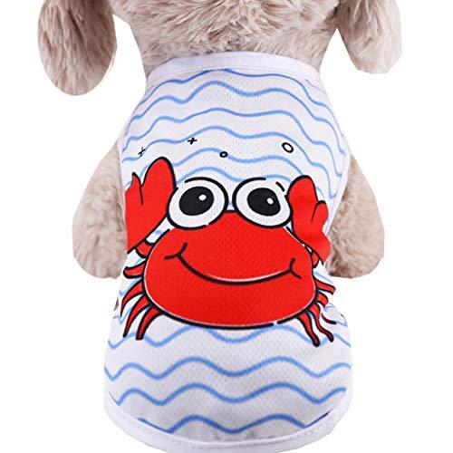 WM & MW-Pet Shirt, Soft Cotton Puppy Vest Watermelon Crab Printed Dog Shirt Pet Clothes Summer Sweatshirt(White,XS) ()