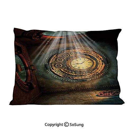 SoSung Fantasy House Decor Bed Pillow Case/Shams Set of 2,Fantasy Scene with Clock Dream Sky from The Ceiling Fiction Art Stars King Size Without Insert (2 Pack Pillowcase 36