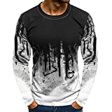 Ankola Men's Muscle Basic Solid Blouse Tee Shirt Top Crewneck Long Sleeve Gradient Color Slim Fit (XXXL, White)