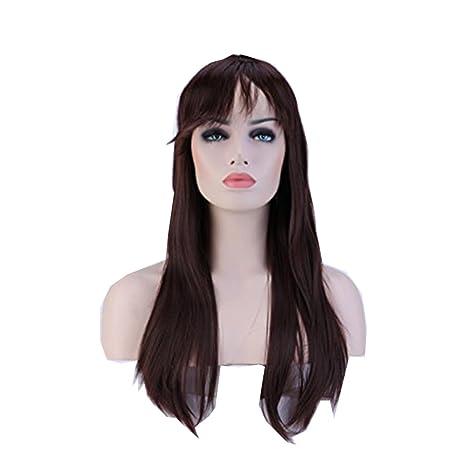 Pelucas Sintéticas Largas Lisas Pelo Se Ve Natural Peluca Resistente al Calor para Mujer Cosplay Disfraz