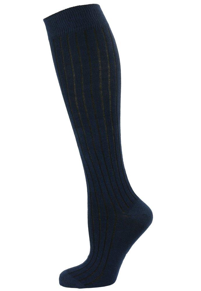 Mysocks Unisex Knee High Long Socks Navy Ribbed