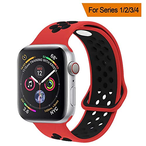 YC YANCH Greatou Compatible for Apple Watch Band,Soft Silicone Sport Band Replacement Wrist Strap Compatible for iWatch Apple Watch Series 3/2/1,Nike+,Sport,Edition,42mm M/L,Red Black