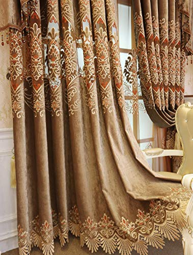 ZZCZZC 2 Pack – European Jacquard Hollowed Semi Blackout Curtains Brown Chenille Curtain with Grommets Luxury Picture Window Draperies for Hotel Fringed Macrame Panels W39 x L102 inch Total W78 inch For Sale
