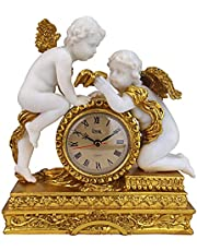 Design Toscano Chateau Carbonne Cherub Mantel Clock Statue, 26.5 cm, Polyresin, Gold and Ivory