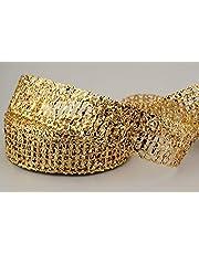 Finemark dekorativt band glänsande rutnät guld silver röd blå presentband rutig dekoration glänsande metall för hantverk dekoration jul adventskalas, guld, 25 m x 50 mm