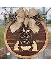 Christmas Sign Jesus is The Reason for The Season, 2021 Christmas Wood Door Sign for Christmas Holiday Front Door Wall Porch