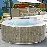 GYMAX Outdoor Spa, 6 Person Portable Inflatable Hot Tub with Accessories Set for Relaxation Hydrotherapy (Coffee)