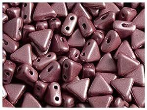 50pcs Kheops par puca Beads–Checa Perlas de impresión de forma triangular, con dos agujeros, 6mm, Metallic Mat Rosa