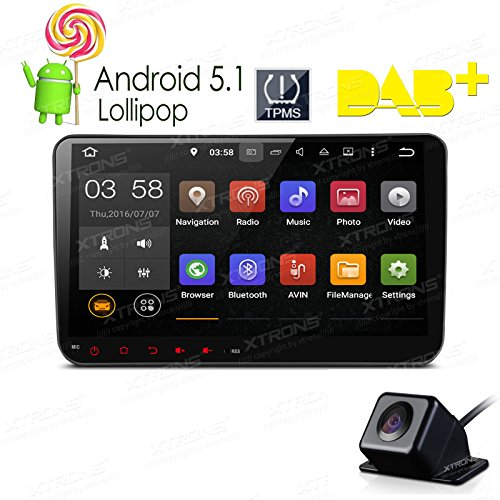 XTRONS 9 inch Android 5.1 Capacitive Touch Screen Car Stereo Radio Player GPS OBD Built-in DAB+ Tuner Tire Pressure Monitoring for VW Golf 5 6 Polo Passat Tiguan Jetta Reversing Camera Included (Radio Voice Module)