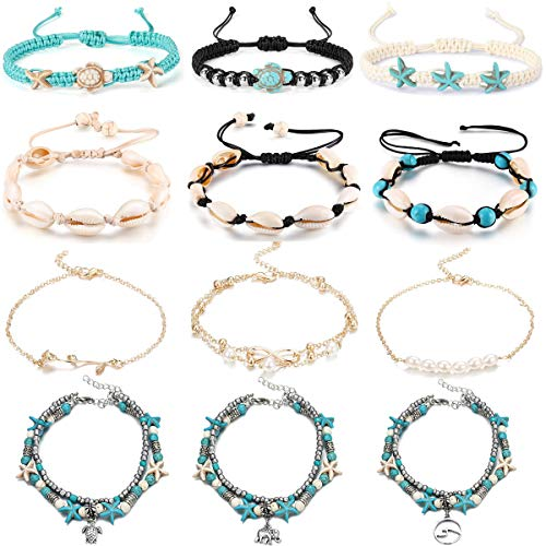 WAINIS 12PCS Anklets for Women Girls Blue Starfish Turtle Elephant Shell Charm Ankle Bracelets Multilayer Gold Silver Plated Foot Jewelry Handmade ()
