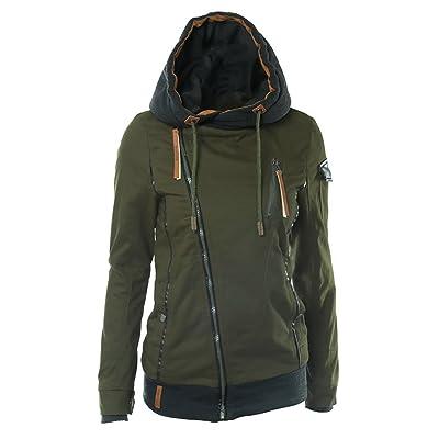 QZUnique Women's Fashion Long Sleeve Inclined Zip Up Hoodie Sweatshirt Jacket