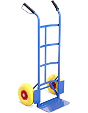 Heavy Duty Industrial Steel Sack Truck - with Anti Puncture Tyres and 325kg Load Capacity (Blue) - 5 Year Warranty