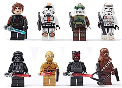 Generic Lot Super Heroes Star Wars White Clone Soldiers Troops Minifigures Building Blocks Toys (8 Piece)
