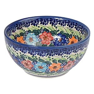 Traditional Polish Pottery, Handcrafted Ceramic Salad or Cereal Bowl 800 ml (d.16cm), Boleslawiec Style Pattern, M.702.Garland