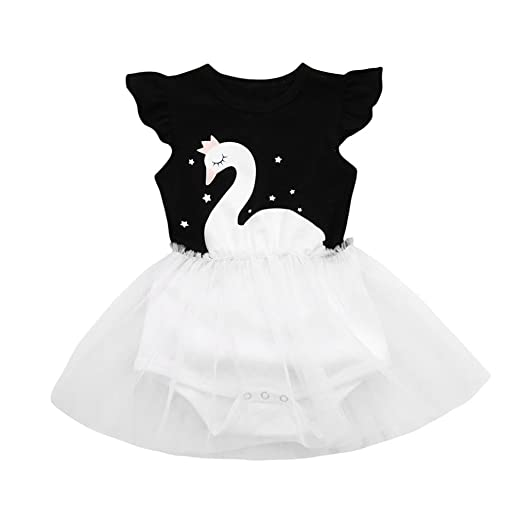 10ff61f1062 Sunward Summer Infant Kids Baby Girl Summer Cute One-Piece Dress Summers  Denim Splice Tulle
