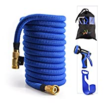 WEUE Expanding Hose, Upgraded Strong Expandable Garden Hose Extra Strength Fabric and Brass Connector with Spray Nozzle (100ft)