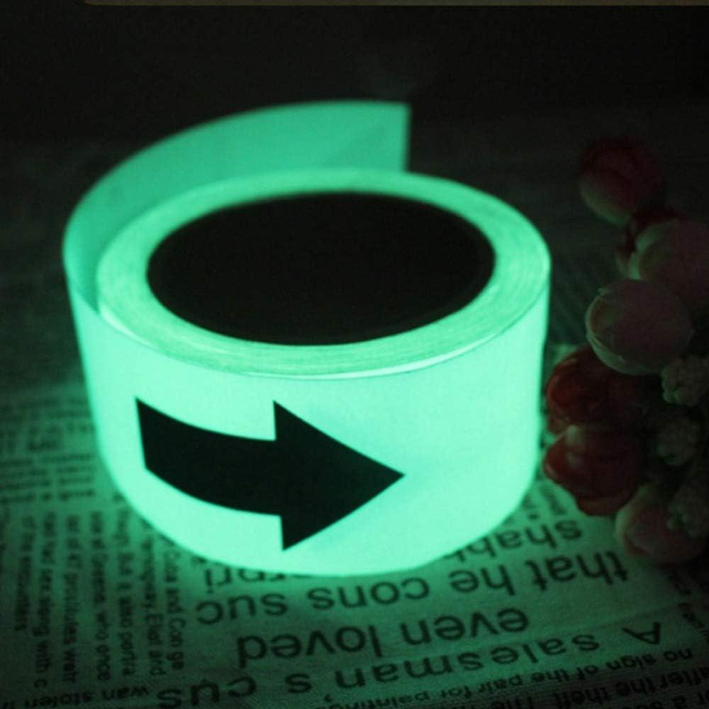 WANGDANA Cinta Reflectante 1M Cinta Luminosa con Flechas Fluorescentes Fluorescentes Autoadhesivas En La Oscuridad Cinta de Advertencia de Seguridad Impermeable Strip Sticker