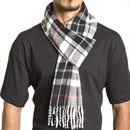 Alpine Swiss Mens Plaid Scarf Soft Winter Scarves Unisex,Red Plaid,One Size