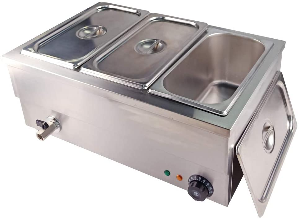 DULONG Commercial Bain Marie Electric Food Warmer Buffet Warmer Soup Warmer Stove Steam Table Stainless Steel Container Temperature Control for Catering Restaurant Commercial Grade 1350W(1/3 GN 3 Pan)