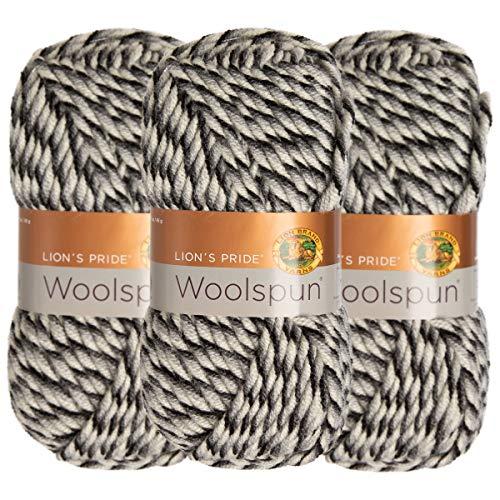 Lion Brand (3 Pack) Woolspun Acrylic & Wool Soft Stone Mix White Black Gray Yarn for Knitting Crocheting Bulky #5