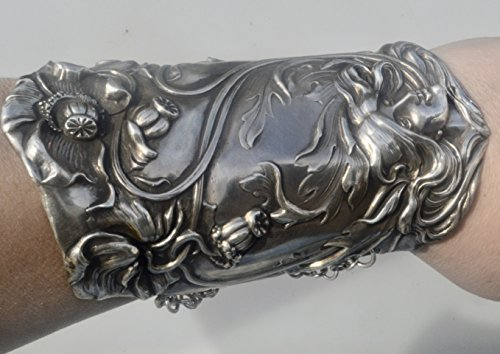 (Art Nouveau Goddess Antique Solid Sterling Silver 925 .925 Wide Cuff Bracelet Armlet Maiden Bracer Lady Face Victorian Medieval Renaissance Rococo Armor Chivalry)