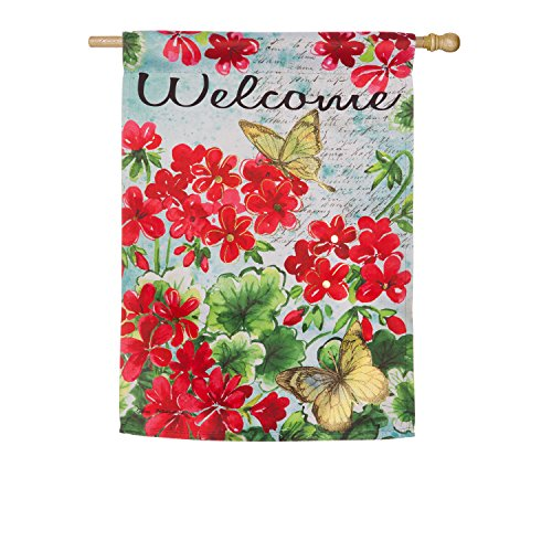 Evergreen Flag Geranium with Yellow Butterflies Suede House Flag, 29 x 43 (Evergreen Butterfly House)