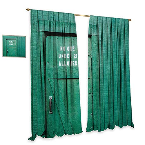 homefeel Teal Window Curtain Fabric Monochrome Vintage Wooden Local Irish Pub Rustic Door with Warning Phrase Culture Photo Drapes for Living Room W120 x L96 ()