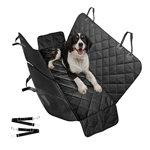 Luxury Dog Car Seat Covers, Car Cover for Dogs & Pets with Side Flaps Hammock Convertible Tear Proof, Nonslip Washable Waterproof Padded Seat Cover for Cars Trucks & SUVs 54″x58″ with 2 Dog Seat Belts