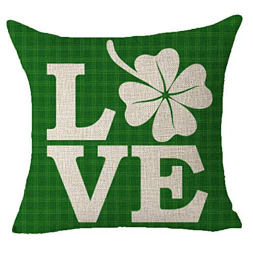 Happy St. Patrick's Day Irish National Day LOVE Four-leaf Clover Green Plaid Geometric Classic Best Gift Square Pillowcase Cushion Cover Pillow Cover Cotton Linen Pillow Case 18