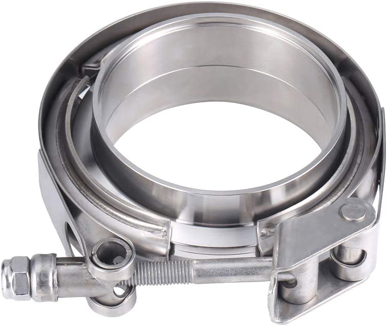 JXY 2.25 inch Stainless Steel Exhaust V Band Clamp Male Female Flange Assembly Quick Release V-Band Turbo Downpipe Clamps 2.25 V-Band Flange Kit