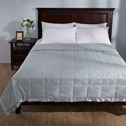 Puredown Light Weight White Down Blanket With Satin Weave