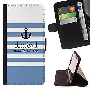 Blanco Rayas azules Líneas Mar Barco- Modelo colorido cuero de la carpeta del tirón del caso cubierta piel Holster Funda protecció Para Apple (4.7 inches!!!) iPhone 6 / 6S