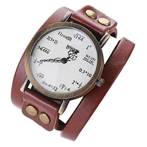 Hunputa New Womens Girls Multi Rounds Leather Band Funny Maths Pattern Leisure Casual Analog Quartz Bracelet Watch Gift (Coffee)