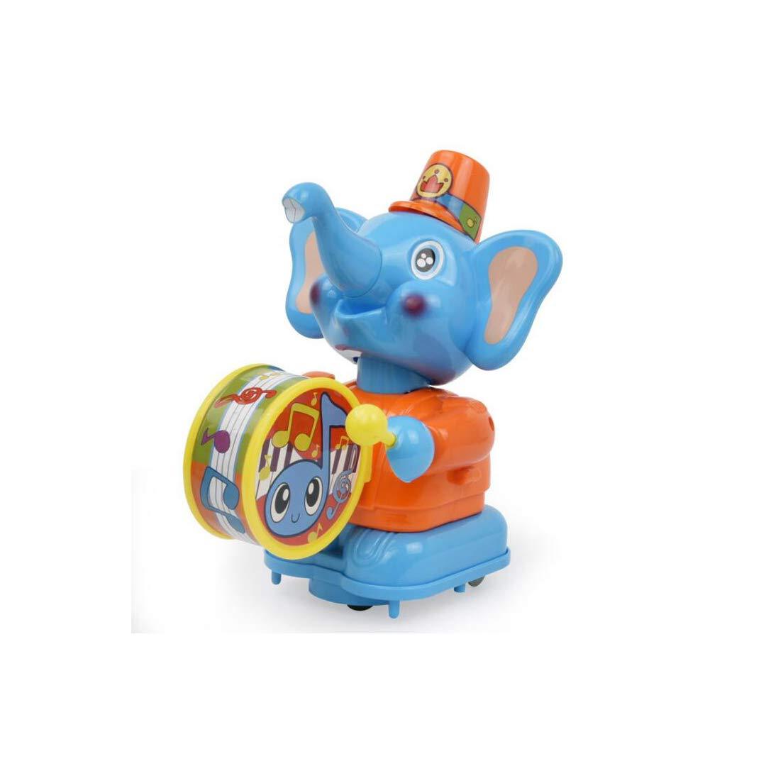 SXZHSM-Intellectual development toy Little Drummer Happy Elephant Can Walk Cartoon Music Rattle Drums Children Baby Toys, 8x14x19cm