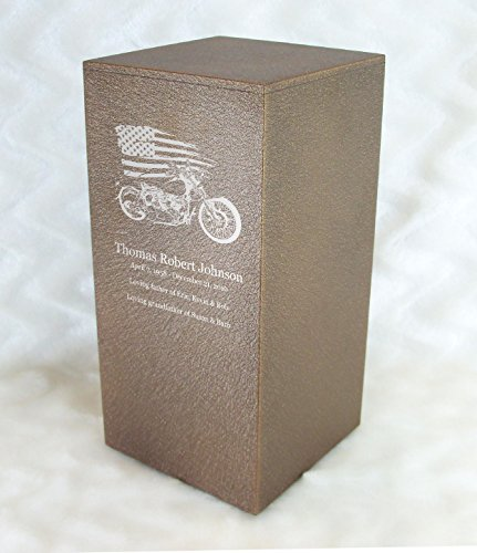 PERSONALIZED Engraved Motorcycle Cremation Urn for Human Ashes - Made in America - Handcrafted in the USA by Amaranthine Urns, Adult Funeral Urn - Eaton DL-up to 200 lbs living weight -(Cast Bronze)