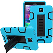 "Samsung Galaxy Tab 4 7.0 Case, Jwest [Kickstand] Full-body Rugged Hybrid Protective Dual Layer Design/Impact Resistant Bumper Case for Samsung Galaxy Tab 4 7.0"" inch T230 (Blue+Black)"