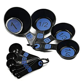 Chef Craft Measuring Tool Set, Blue 5 10-Piece Set includes 1/8 tsp, 1/4 tsp, 1/2 tsp, 1 tsp, 1/2 tbsp, 1 tbsp, 1/4 cup, 1/3 cup, 1/2 cup and 1 cup sizes Double molded for increased durability and function so the measurements do not come off Made of durable, BPA free, plastic that is built to last for many years